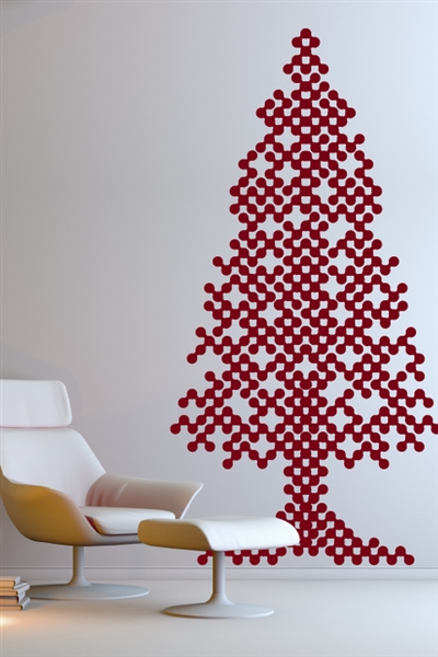 Christmas Tree Wall Sticker With Lights : Christmas Wall Decals - Abstract Tree