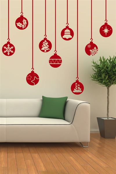 Festive ornaments wall decal christmas wall stickers for Christmas wall mural
