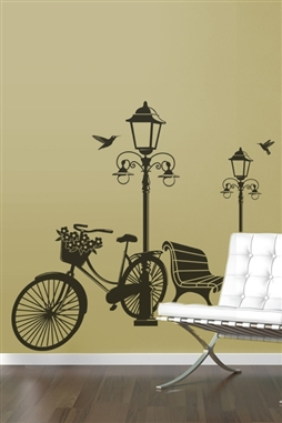 Lamp and Bicycle Wall Decals