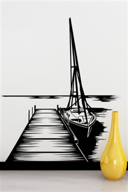 Dock and Sailboat Wall Decal