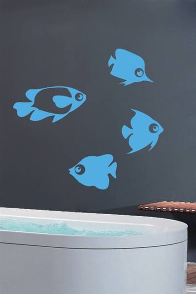 Fish Sky Blue Wall Decals Wall Stickers Art Without