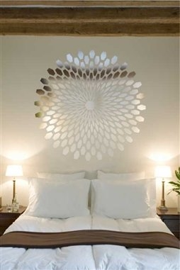 Modern Sunburst Mirror Decal Wall Art, Chrome or Gold, 6 sizes